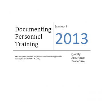 Documenting Personnel Training