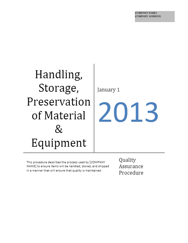 Handling, Storage, Preservation of Material and Equipment