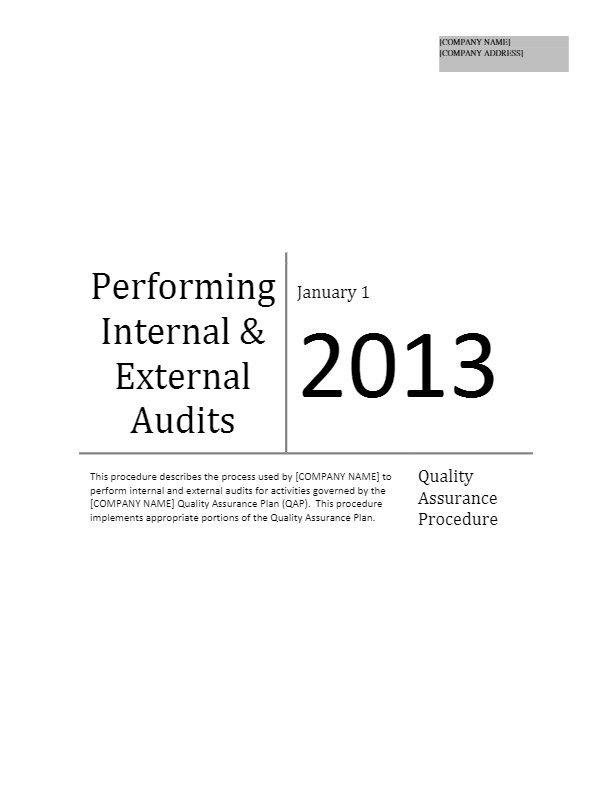 Performing Internal and External Audits
