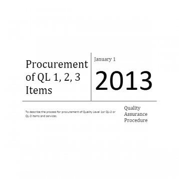 Procurement of QL 1, 2, 3 Items