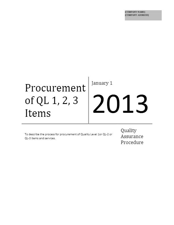 Procurement of QL 1, 2, 3 Items