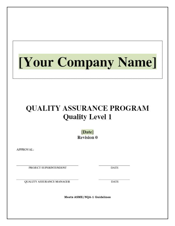 Quality Assurance Program Manual