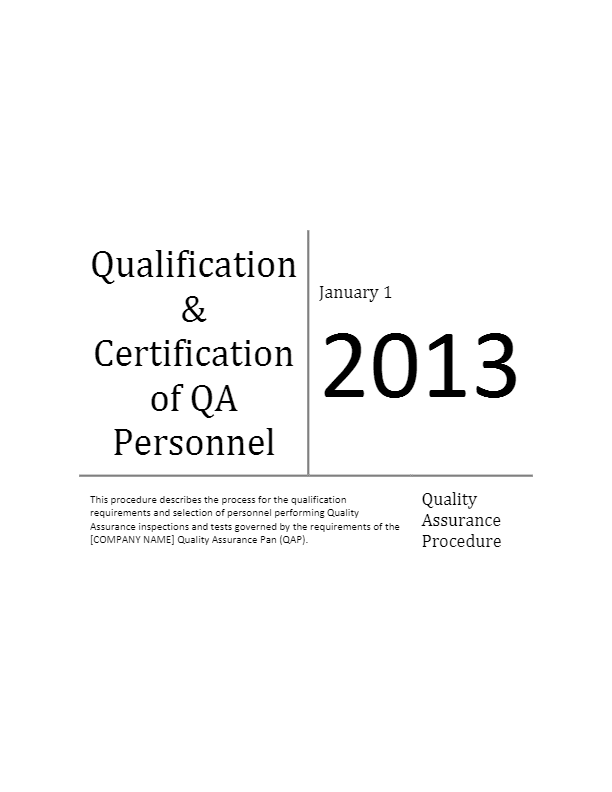 Qualification and Certification of QA Personnel