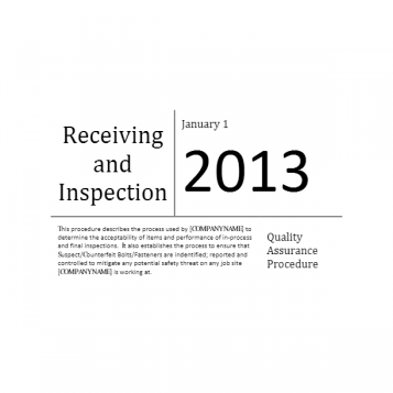 Receiving and Inspection