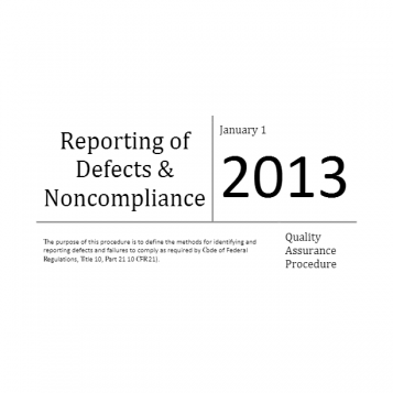Reporting of Defects and Noncompliance