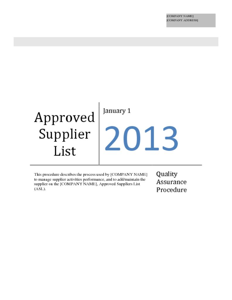 Administration of Approved Supplier List